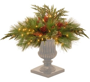 "National Tree Company 30"" Decorative Collection White Pine Urn Filler with 135 Clear Lights"