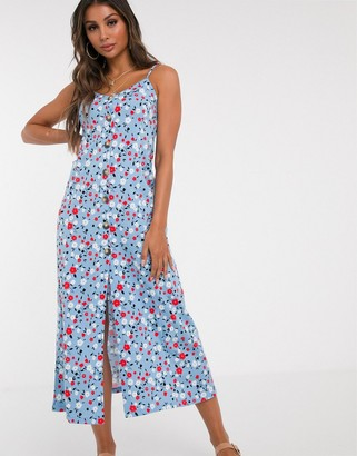 Asos DESIGN button through maxi dress in blue floral print