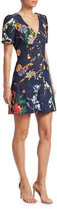 Tanya Taylor Blanca Jungle Print Button-Front Dress