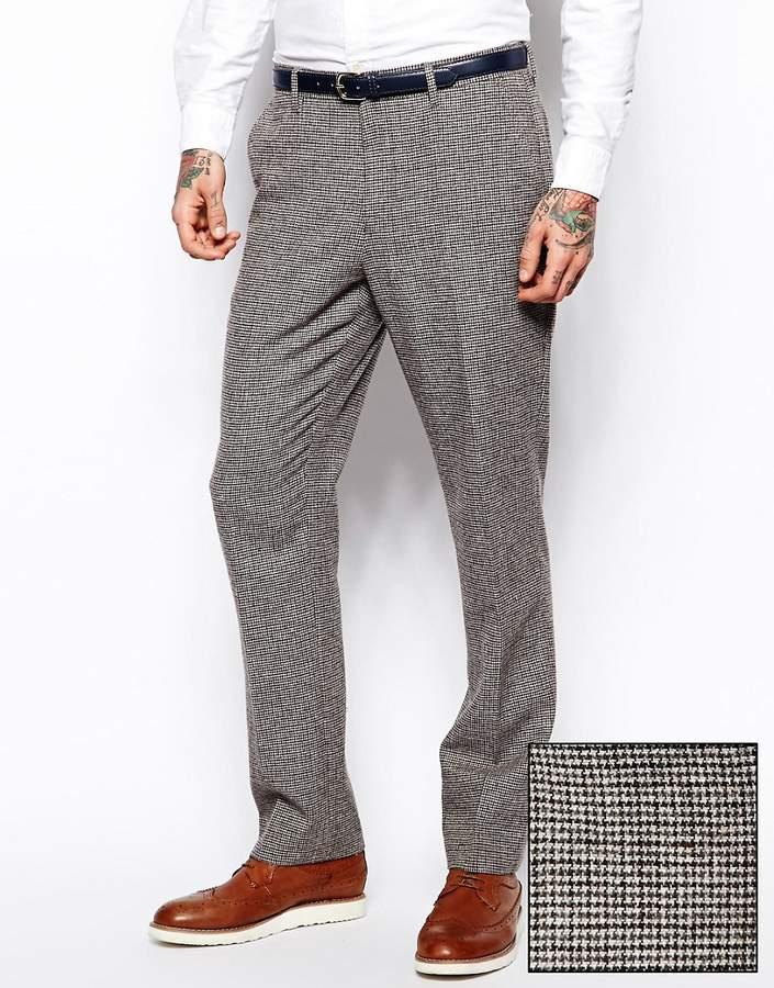 Asos Slim Fit Suit Pants In Brown Dogstooth