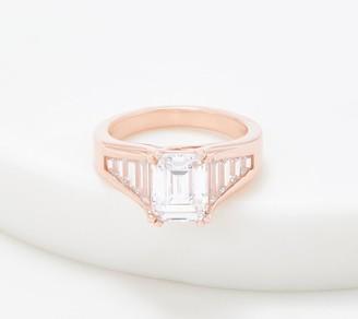 Diamonique 4.80 ct Emerald Cut Ring, Sterling Silver