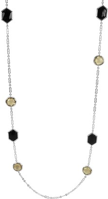 "Sterling Black Onyx & Champagne Quartz 34"" Station Necklace"