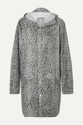 Rains Hooded Leopard-print Matte-pu Raincoat - Gray