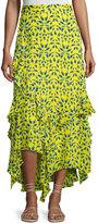 Tanya Taylor Rita Ruffled Silk Skirt, Yellow