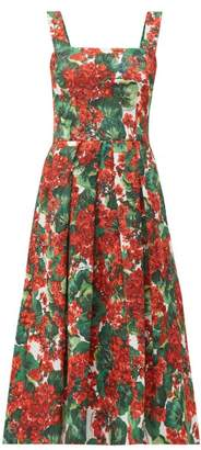 Dolce & Gabbana Geranium-print Cloque Midi Dress - Womens - Red Multi