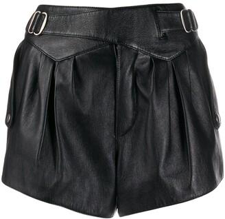 Saint Laurent Buckle-Detail High-Waist Shorts