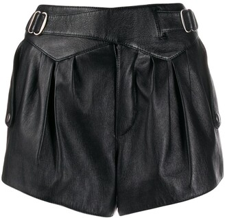 Saint Laurent high waist leather shorts