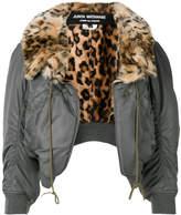 Junya Watanabe leopard-print collar bomber jacket