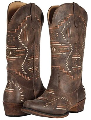 Roper Riley Abstract (Brown Faux Leather) Cowboy Boots