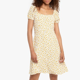 La Redoute Collections Flared Floral Mini Milkmaid Dress with Square Neck and Short Puff Sleeves