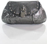 Luella Silver Metallic Leather Studded Small Flap Clutch Handbag