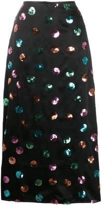 Rixo Sequin Spot Print Maxi Skirt
