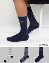 Jack Wills Alandale Stripe 3 Pack Socks White