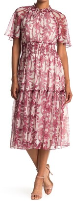 Taylor Chiffon Printed Smocked Waist Dress