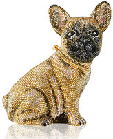 Judith Leiber Couture Crystal-Embellished French Bulldog Clutch Bag, Champagne