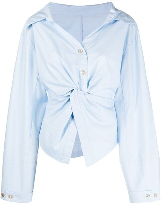 Nanushka Idris twist-front poplin shirt