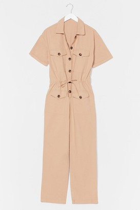 Nasty Gal Womens Like Button Wouldn't Melt Drawstring Boilersuit - Beige - S, Beige