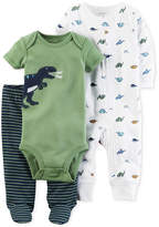 Carter's 3-Pc. Cotton Dinosaur Bodysuit, Coverall & Footed Pants Set, Baby Boys