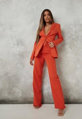 Missguided Tall Orange Co Ord Seam Detail Straight Leg Pants