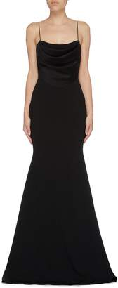 Alex Perry 'Clay' satin panel crepe gown