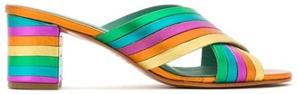 Blue Bird Shoes metallic leather Rainbow mules