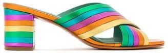 Blue Bird Shoes metallic leather Rainbow mules