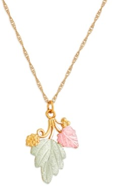 """Black Hills Gold Grape and Leaf Pendant 18"""" Necklace in 10K Yellow Gold with 12K Rose and Green Gold"""