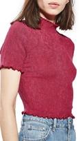 Topshop Petite Women's Textured Ruffle Edge Tee