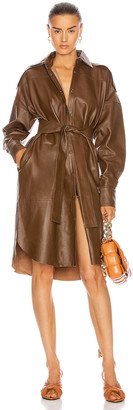 REMAIN Lavare Long Sleeve Dress Leather Dress in Bison   FWRD