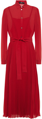Paul Smith Belted Pleated Georgette Midi Shirt Dress