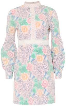 True Decadence Pastel Floral Lace Mini Dress