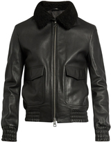 Ami Shearling-collar leather jacket