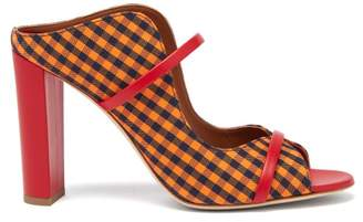 Malone Souliers Nora Gingham Canvas And Leather Sandals - Womens - Orange Multi