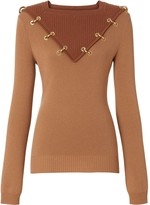 Burberry ring-pierced two-tone wool cashmere sweater