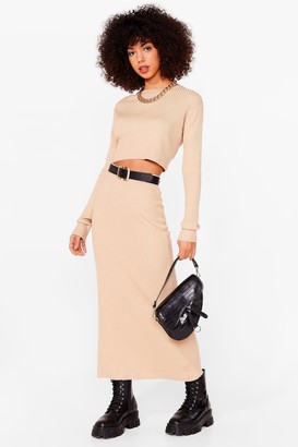 Nasty Gal Womens Knit's a Perfect Match Crop Top and Skirt Set - Beige - L