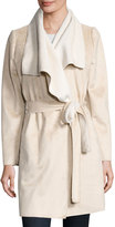 Neiman Marcus Faux-Shearling Trench Coat, Beige/Creme
