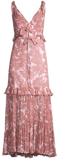 Diane von Furstenberg Misha Ruffle Daisy Print Maxi Dress