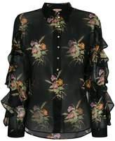 No.21 floral print sheer ruffled blouse