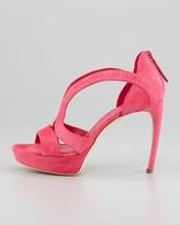 Alexander McQueen Low-Heel Double-Arched Suede Sandal, Pop Pink