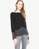 Ann Taylor Colorblock Fluted Sleeve Boatneck Sweater