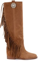 Via Roma 15 Boot In Brown Suede With Side Fringe