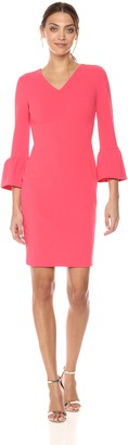 Calvin Klein Women's Solid V Neck Sheath with Bell Sleeves