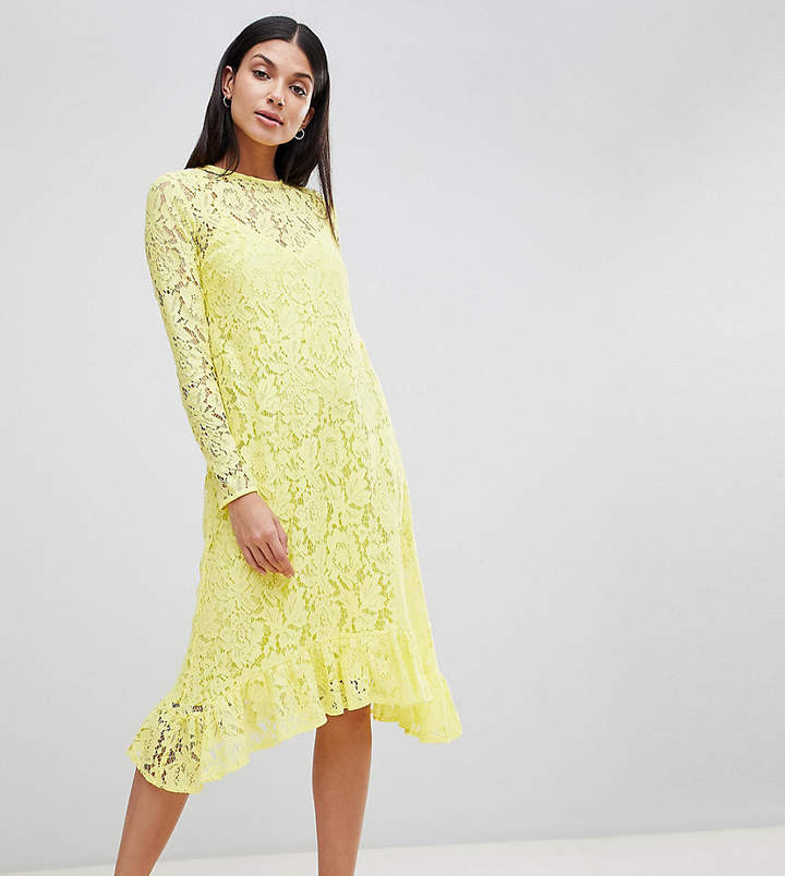 Asos Tall DESIGN Tall Lace Midi Swing Dress With Ruffle Hem
