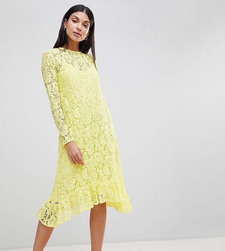 Asos Tall Design Tall Lace Midi Swing Dress With Ruffle Hem