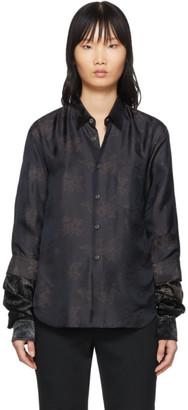 Comme des Garcons Black Floral Velour Sleeve Shirt