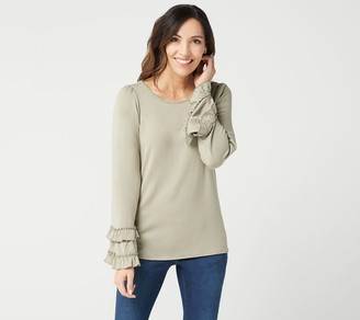 Belle By Kim Gravel Double Ruffle Hi-Low Bell Sleeve Top