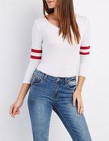 Charlotte Russe Varsity Stripe Bodysuit