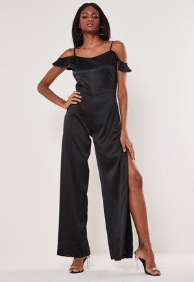Missguided Black Cowl Cold Shoulder Jumpsuit