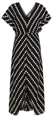 Maje Chantilly Lace-trimmed Floral-print Crepe Midi Dress