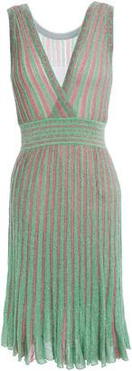 Missoni Reversible Pleated Metallic Crochet-knit Dress